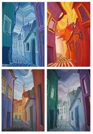 декоративный пейзаж гуашью Поиск в google Искусство  декоративный пейзаж гуашью Поиск в google