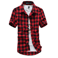 Men's Patterned Dress Shirts Best Red And Black Plaid Shirt Men Shirts 48 New Summer Spring Fashion