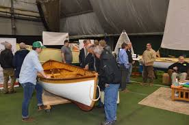there was no shortage of good looking wooden boats at the maine boatbuilders show as evidenced by this handsome peapod displayed by the landing school of