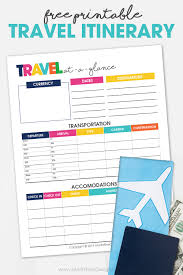 Free Trip Itinerary Planner Printable Travel Itinerary Planner Free Printable Vacation