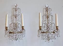 pair of exquisite crystal and bronze brass swedish two arm candle wall sconces