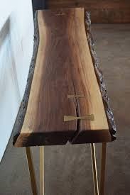 walnut console table. Live Edge Black Walnut Console Table With Solid Brass Inlays And Brass/steel/metal