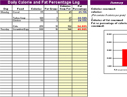 Food Nutrition Chart Excel Daily Log Of Calories And Fat Percentage