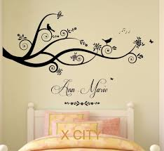 Wall Tree Stencil Designs Us 10 49 25 Off Tree Birds Butterflies Children Girl Personalised Name Vinyl Wall Decal Art Decor Sticker Kids Bedroom Stencil Mural S M L In Wall