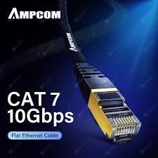 AMPCOM CAT7 <b>Flat Ethernet</b> Cable STP RJ45 <b>Network</b> Patch ...