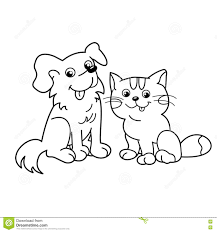 coloring page outline of cartoon cat with dog pets coloring book for kids