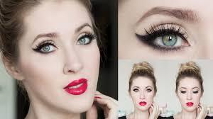makeup tutorial 2016 winged eyeliner cat eye red lips look blue green grey eyes you