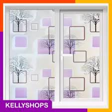 Modern 3d Effect Cube And Tree Background Diy Privacy Glass Window Tinted Window Shading Film Tint Office Stickers