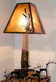 Bradford Pear Wood Lamp w/Cattails Mica Shade 27