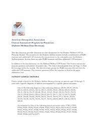 Diabetes Mellitus Data Dictionary American Osteopathic