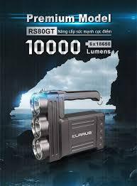 Đèn pin siêu sáng KLARUS RS80GT độ sáng 10.000 lumen chiếu xa 570 mét sử  dụng 6 pin 18650 (kèm theo)