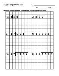 Long Division Quiz 2 Digit Divisor W Graph Paper Long