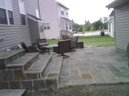 stone patio installation: installation of a new slate stone patio