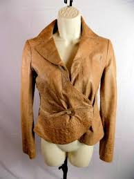 emporio armani women s jacket brown lamb skin embossed leather buckle front 4