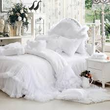 whole luxury white falbala ruffle lace bedding set twin queen king size bedding for girl princess duvet cover set bedspread bedskirt pink bedding king