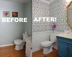 my colorful small gray bathroom makeover with stencils thriftdiving com you