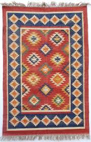 aztec deep blue multi coloured dhurrie rug