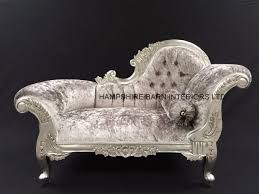 Small Chaise Lounge For Bedroom Small French Chaise Longue Silver Leaf Mercury Grey Crystal Sofa