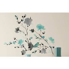sun wall decal trendy designs: room mates deco blossom watercolor bird branch wall decal