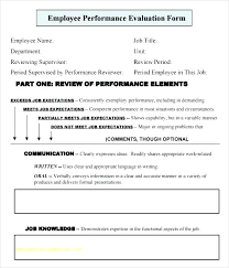 Performance Appraisal Form Format Best Employee Performance Appraisal Form Template Evaluation Feedback