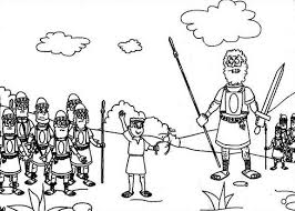 Small Picture David And Goliath The Battle Elah Valley Coloring Page Free