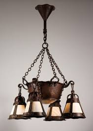 sold magnificent antique arts crafts chandelier with slag glass early 1900 s
