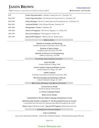 Special Residential Construction Superintendent Resume Residential