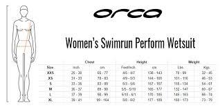 Orca Apex 2 Size Chart Orca Womens Swimrun Perform Wetsuit