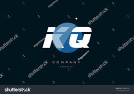 kq k q blue circle dot big font alphabet company letter logo white design  vector icon template