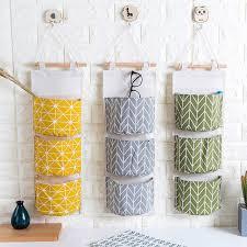 3 Pockets Wall Hanging Storage Bag Cotton Fabric Closet Organizer Storage  Pocket Home Decor Hanging Bag