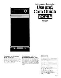 How Does A Trash Compactor Work Roper Trash Compactor Ku155ov User Guide Manualsonlinecom