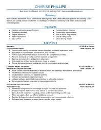 Automotive Service Technician Sample Job Description Resume
