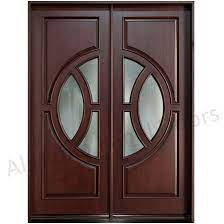 wooden double doors glass panel door