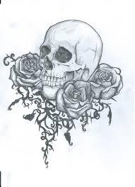 Gothic Skull Design Flowers And Gothic Skull Tattoo Design