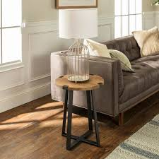 rustic oak rustic urban industrial wood and metal wrap round accent side table
