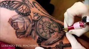 Rose Pocket Watch Butterfly Realistic Tattoo Lorenzo Em Youtube
