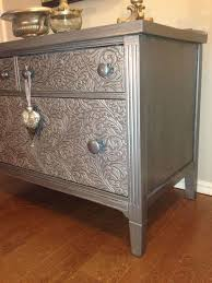 silver painted furniture. How To Remove Old Veneer Before And After Metallic Painted Dresser, To, Silver Furniture