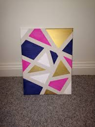 Diy Canvas Painting Diy Canvas Art Apply Painters Tape Randomly Around A Canvas And
