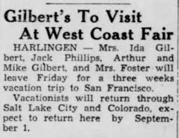 Ida Gilbert and Mike Gilbert vacation for 3 wks to San Francisco VMS 07 Aug  1939 - Newspapers.com