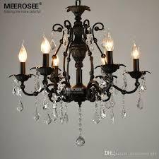 vintage black crystal pendant light fixture 6 lights american wrought iron pendant lamp suspension hanging drop light chandelier crystal chandelier modern