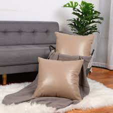 pack of 2 faux leather pillow covers decorative throw cushion covers for for couch sofa bed 18 x 18 camel color com