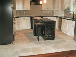 good kitchen floor tile ideas with black kitchen island and white cabinet