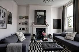 marvelous gray living room decor white ceiling white painted wall black frame mirror