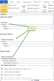 generating a table of contents using word 2007 and later the gallery