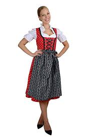 Edelnice Midi Dirndl 3 Piece Red With Beautiful White Scattered Daisies Apron And Dirndl Blouse Black Size 58