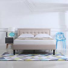 Low Profile Bed Tufted Upholstered Headboard Nailhead Platform Bed, Queen, Ivory