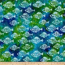Batik Fish Design Indian Batik Small Fish Aqua Lima Fabric Colorful
