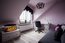 pink, grey and black attic room