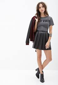 faux leather pleated skirt black leather skater skirt by forever 21