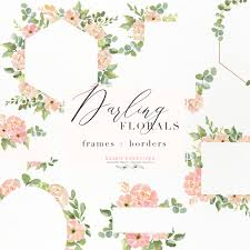 Invitation Boarders Watercolor Flower Border Clipart Romantic Blush Peony Floral Frame